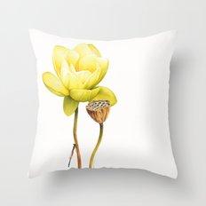 Yellow Lotus Botanical Throw Pillow