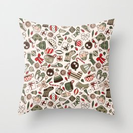 A Cozy Christmas Morning Throw Pillow