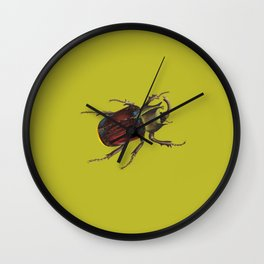 Lime Green Beetle Vintage Inspired Art and Decor Wall Clock