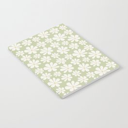 Floral Daisy Pattern - Green Notebook