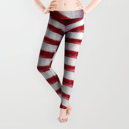 Red and White Organic Rib Cage Leggings