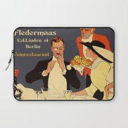Berlin retro 1920 Plakatstil Fledermaus wine restaurant advertisement Laptop Sleeve