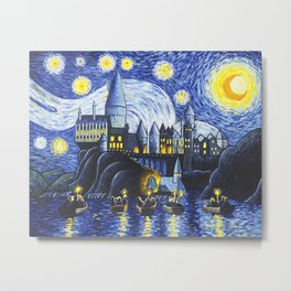 Starry Night At Hogwarts Metal Print