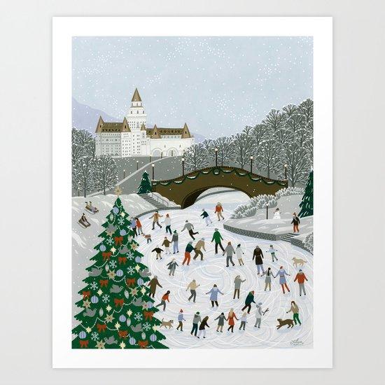 Ice skating pond Art Print