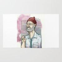 steve zissou Area & Throw Rugs featuring This is an ADVENTURE! Steve Zissou Bill Murray by suPmön