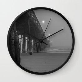 Newport Pier Fog Wall Clock