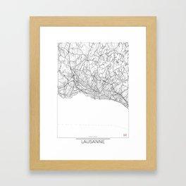 Lausanne Map White Framed Art Print