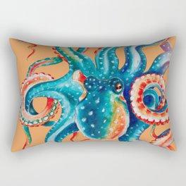 Octopus Teal Tentacles Orange Rectangular Pillow