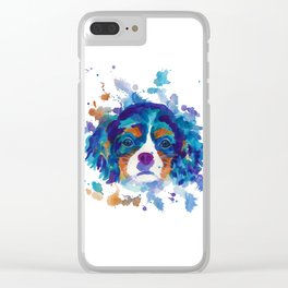 The cavalier king Charles Spaniel portrait in blue Clear iPhone Case