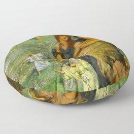 "Sir Lawrence Alma-Tadema ""On the road"" Floor Pillow"