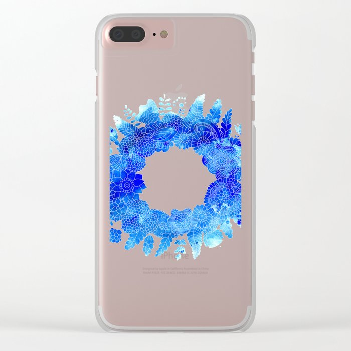 Blue Floral Pattern 01 Clear iPhone Case