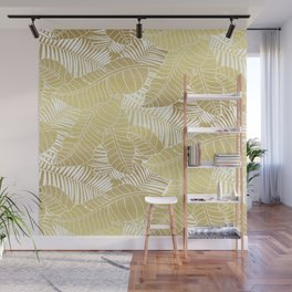 Golden tropical leaves Wall Mural
