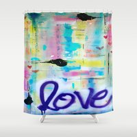 writing Shower Curtains featuring Writing on the Wall by kathleentennant