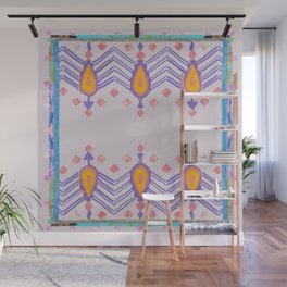 Painted Indian Tribal Pattern Dusky Pink Wall Mural