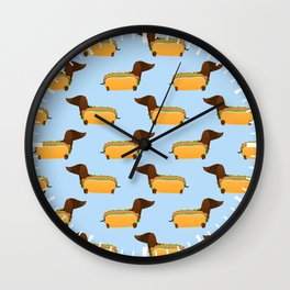 Wiener Dog in a Bun Wall Clock