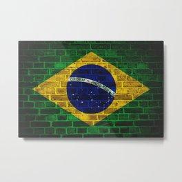 Brazilian flag on brick wall Metal Print