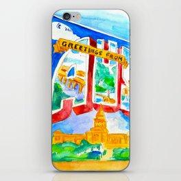 Greetings From Austin Mural watercolor iPhone Skin