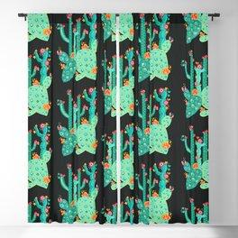 Cactus Garden Acrylic – Green on Charcoal Blackout Curtain