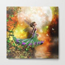 Cute flying fairy in the night Metal Print