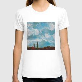 Cypress Trees encaustic wax painting by Seasons Kaz Sparks T-shirt