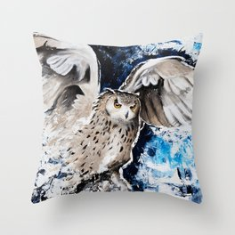 """Owl - Animal - """"I own the night..."""" by LiliFlore Throw Pillow"""