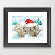 Christmas Chocolate Labradoole Framed Art Print
