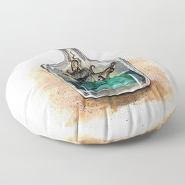 Ship in a bottle Floor Pillow