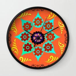 Talavera Tile Orange Wall Clock