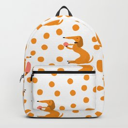 Hand painted orange yellow white polka dots dachshund pattern Backpack