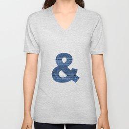 Cool Blue Jeans Denim Patchwork Design Unisex V-Neck