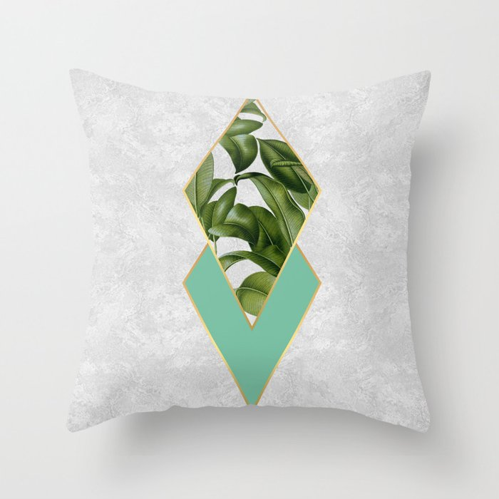 Leaves on marble Throw Pillow