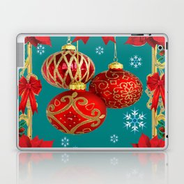 TEAL COLOR RED CHRISTMAS  ORNAMENTS &  POINSETTIAS FLOWER Laptop & iPad Skin