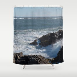 Frothy Seas with a Distant Lighthouse Shower Curtain