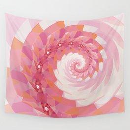 Strawberry Pink & Tangerine Orange Spiral Wall Tapestry