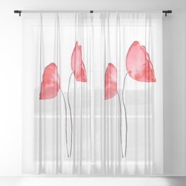 3 red poppies watercolor Sheer Curtain