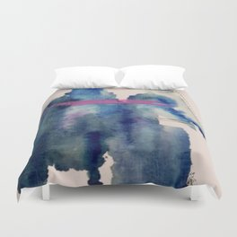 Pour: a blue and purple abstract watercolor Duvet Cover