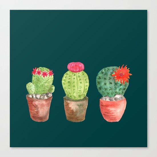 Three Cacti watercolor green Canvas Print