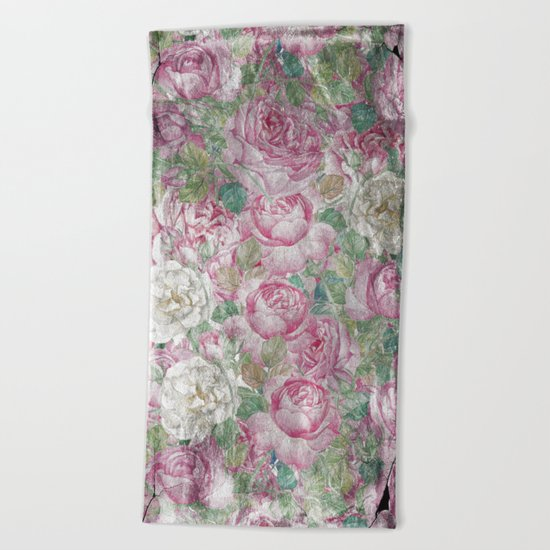 Vintage & Shabby-chic - floral roses flowers rose flower Beach Towel