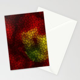 Volumetric texture of pieces of red glass with a dark mysterious mosaic. Stationery Cards