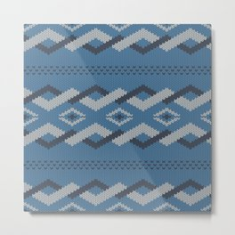 Knitty (Knitted Blue Zigzag Ornament) Metal Print