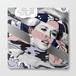 Roy Lichtenstein's Drowning Girl & Tippi Hedren in Birds Metal Print