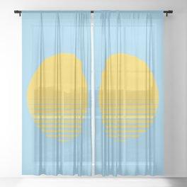Sunrise/ Sunset Horizon Lines - Yellow/Blue Sheer Curtain