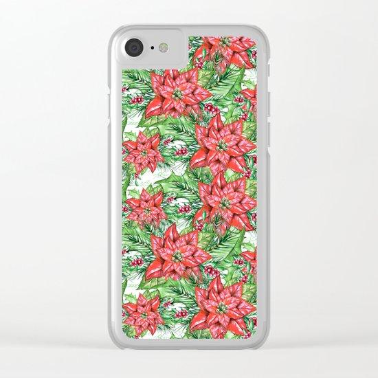 Poinsettia Clear iPhone Case