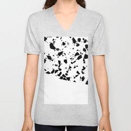 Terrazzo Texture Black and White #8 Unisex V-Neck