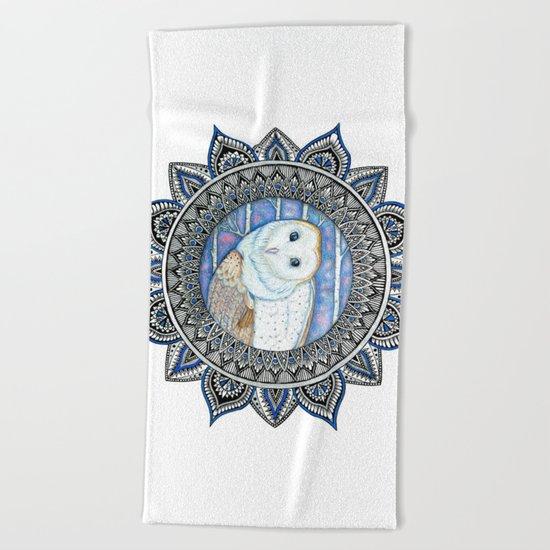 Winter Barn Owl Mandala Beach Towel