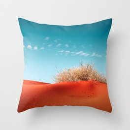 Red Desert Sand With Dusty Bush and Blue Sky Throw Pillow