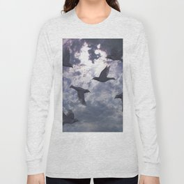 crows in the stormy sky Long Sleeve T-shirt