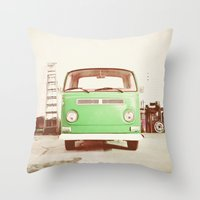 volkswagon Throw Pillows featuring Vintage Volkswagen Bus (Green Edition) by Laura Ruth