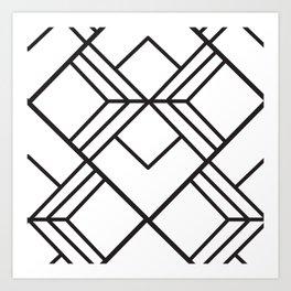 Geometrical modern black abstract diamond stripes pattern Art Print