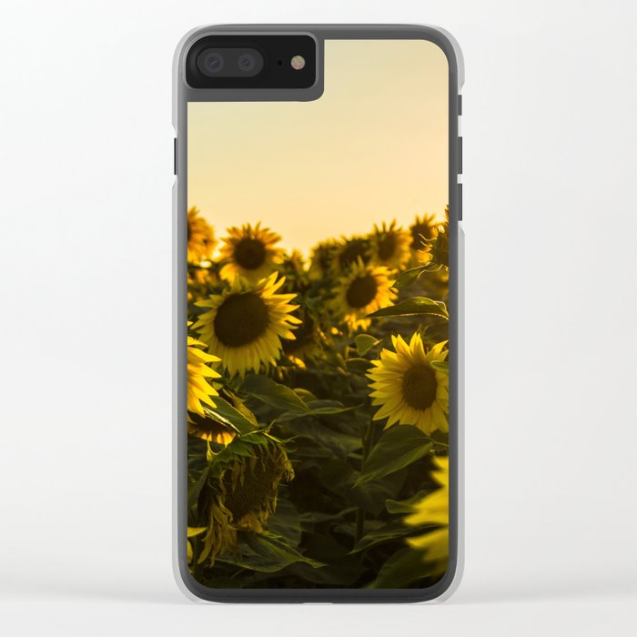 Sunflower field Clear iPhone Case